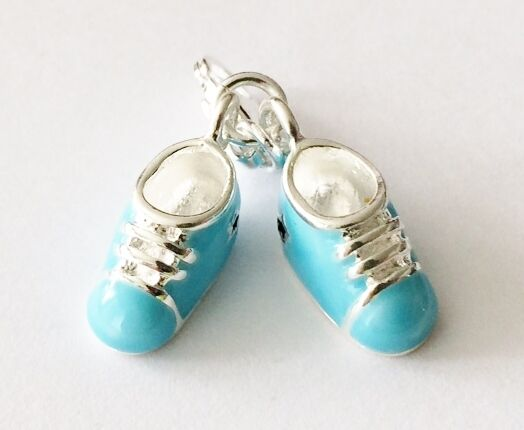 LOVELY PAIR OF SILVER & BLUE ENAMEL BABY SHOES CLIP ON CHARM FOR BRACELETS - S/P