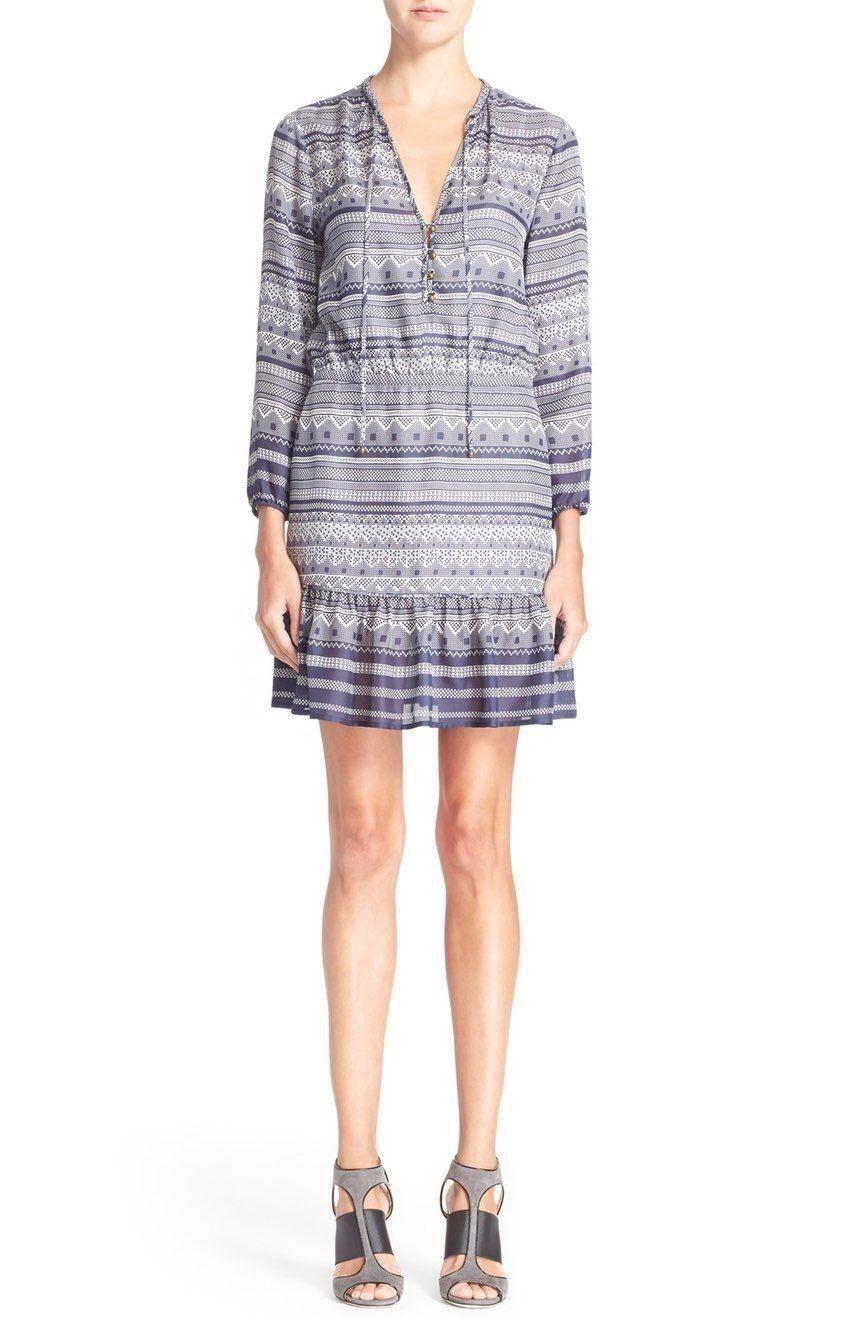 Veronica Beard Agathe' Print Silk Ruffle Hem Blau Weiß abstract Dress NWT 0