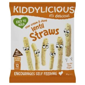 Kiddylicious Sour Cream & Chive Lentil Straws 15g