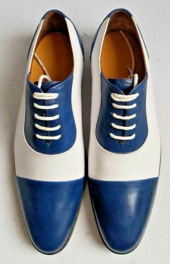 Zapatos Para Hombre Hecho a Mano Azul Y blancoa De Cuero Puntera Oxford Con Cordones Bota ropa formal