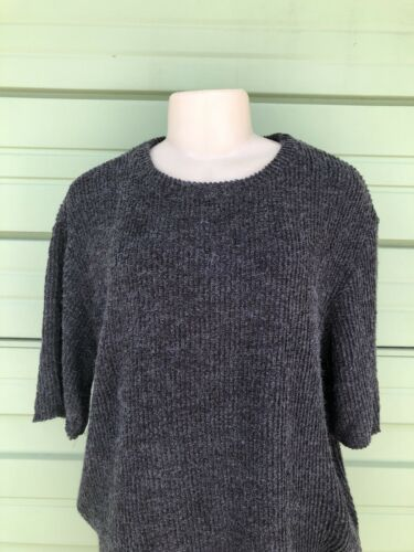 NWT ZARA Charcoal Soft Touch Textured T Shirt Loose-Fitting Short Sleeve Roomy