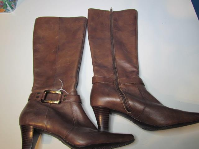 Anne Klein Brown Heel Tall Knee High Leather Boots 065M IFlex Sole