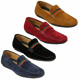d7b9e1dce0690 mens moccasins suede look shoes driving loafers slip on boat ribbon ...