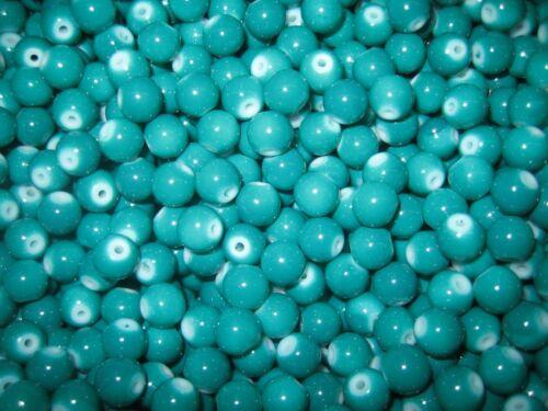 Cuentas de vidrio Mix-pintadas en abalorios 70 balas-pieza 8 mm verde mar-Teal