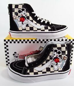 Details about Vans x Disney Sk8 Hi Zip Checkerboard Mickey and Minnie Mouse 90th Kids Toddler
