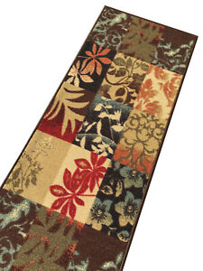 Custom-Size-Stair-Hallway-Runner-Rug-Rubber-Back-Non-Skid-Brown-Floral-Boxes