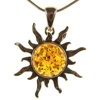 Gift Boxed Baltic Amber Sterling Silver 925 Sun Pendant Jewellery Jewelry