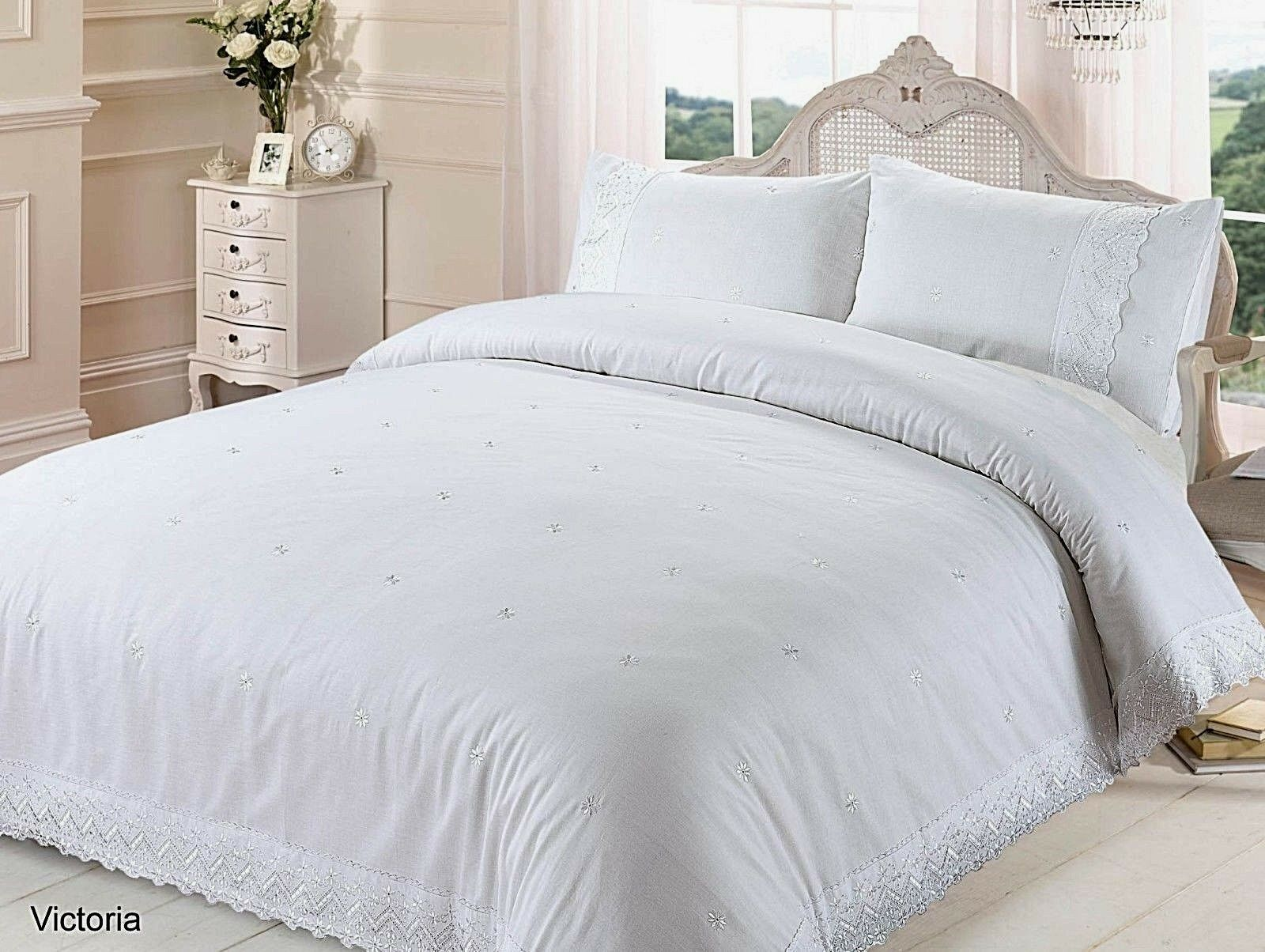 Victoria White Lace Trim Quilt Cover Floral Embroidery Luxury Bedding Set