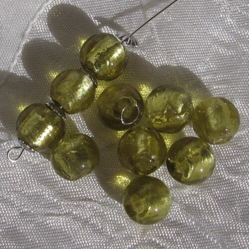 Lot de 10 perles rondes 10mm-9mm verre vert kaki lampwork feuille d'argent *L302