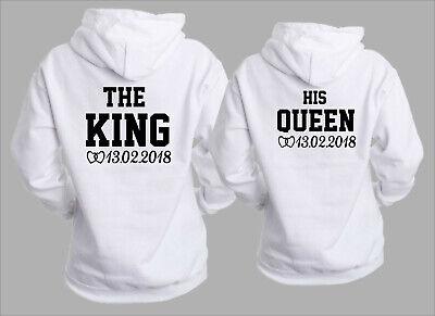 King Queen Hoodie Pärchen Pullover Wunschdatum The King His Queen Partner Weiß | eBay