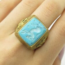 Antique Very Old Fashion Large Real Turquoise Gemstone Ring Size 8 3/4