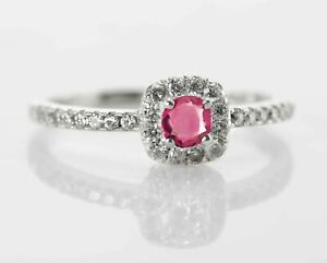 925-Sterling-Silver-Ring-Rhodolite-Natural-Gemstone-Halo-Petite-Size-4-11