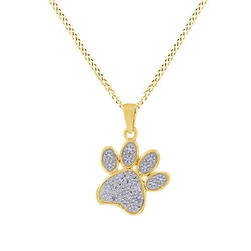 0.1 cttw Round Cut Diamond Dog Paw Charm Collier Pendentif 14K Or Jaune Sur