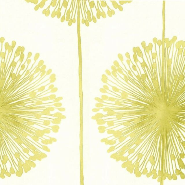 Muriva - J04204-  Dandelion Luxury Floral Wallpaper- Cream / Lime Green