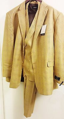 STATEMENT Box Pattern Suit - Camel/Gold, 100% Wool - 3 Piece - 54L ($540 Retail)