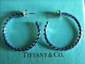 168c841c7 Details about NIB Tiffany & Co Paloma Picasso Palina Hoop Earrings Sterling  Silver Blue Enamel