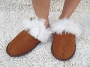 Handmade Genuine Sheepskin Slippers Wool Women Men Brown Soft