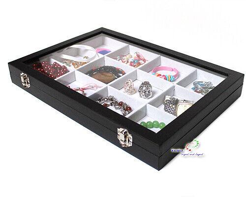 Caja para Bisutería Joyero Exhibidor de con Tapa Cristal Blanco Negro