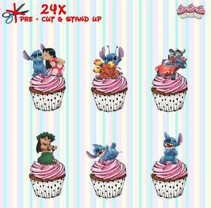 Lilo-amp-Stitch-24-Stand-Up-Pre-Cut-Wafer-Paper-Cup-cake-Toppers