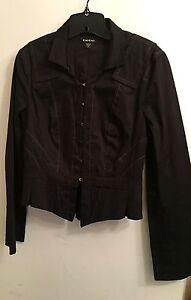 BEBE-Sz-8-Black-Cropped-Hook-and-Eye-Jacket-Women-039-s-Blazer-Cotton-USA-EUC