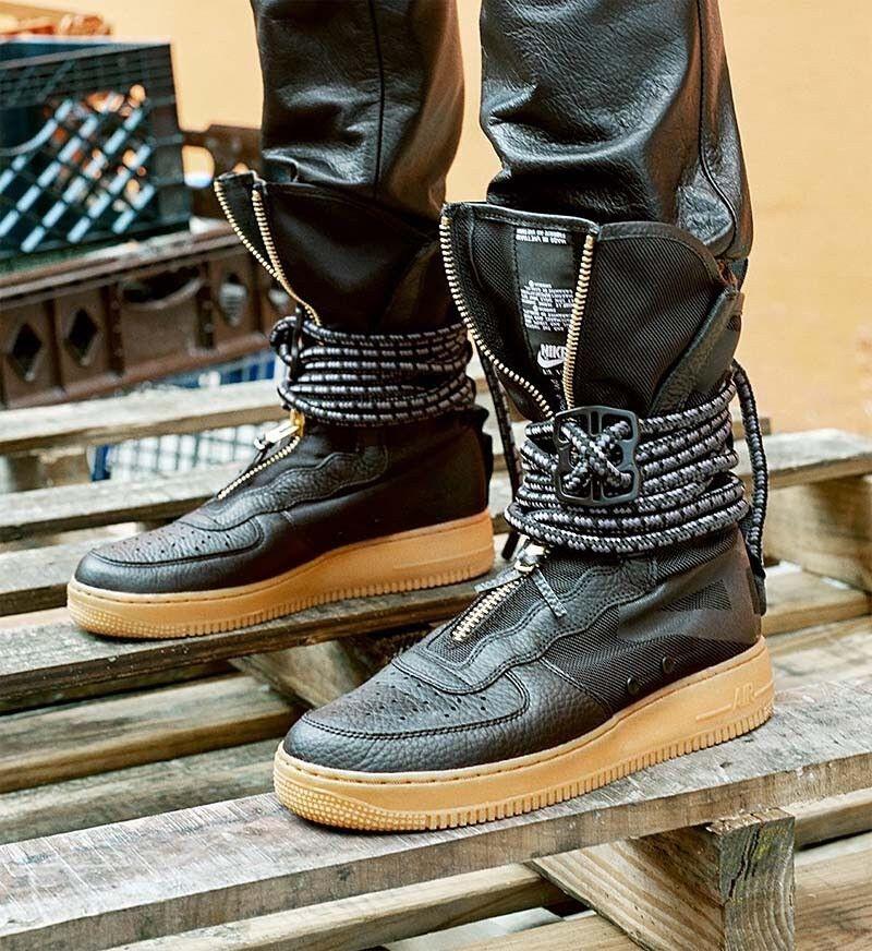para Hombre Nike Goma SF AF1 Hi Negro Goma Nike Marrón DS Cremallera Botas Largas 2018 569ebc