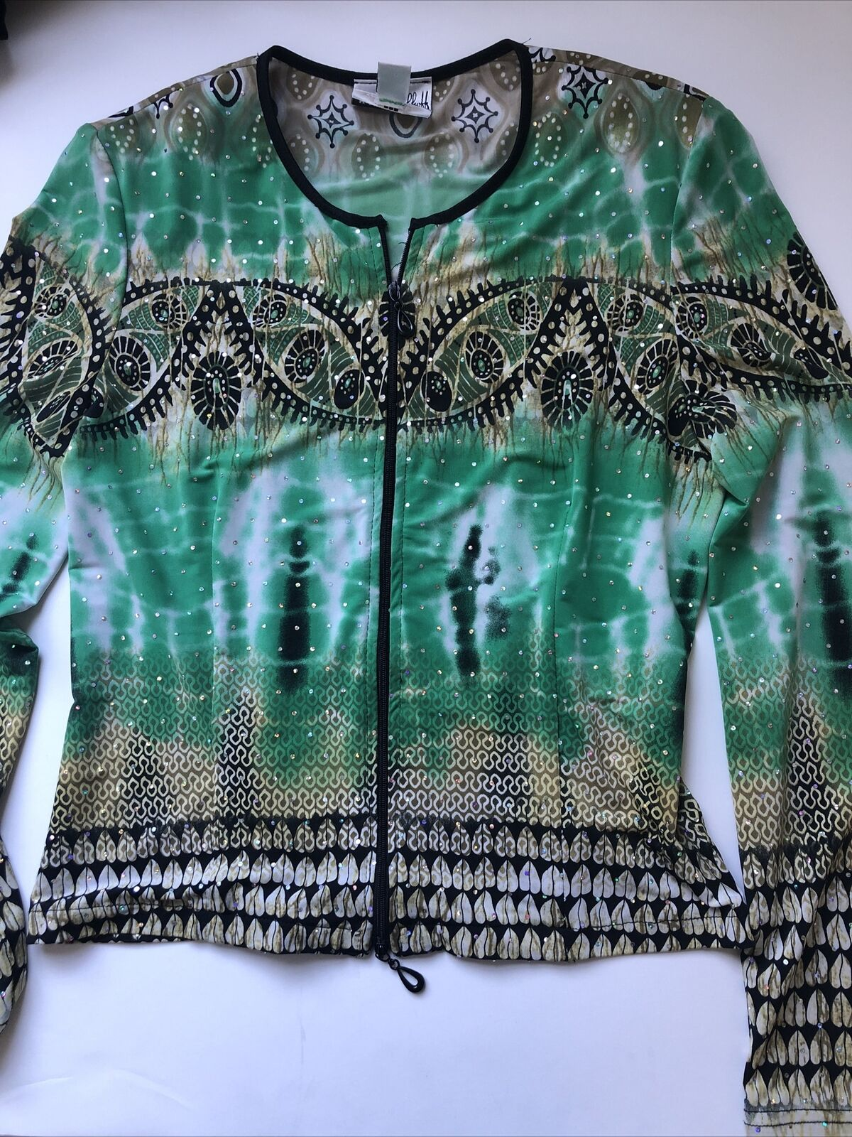Womens Special Occasion Glitzy Zip Front Blouse Size 4