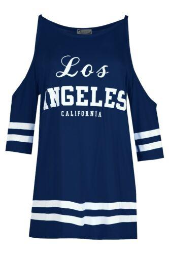Damen Los Angeles Kalte Schulter T-shirt Top Streifen Ärmel Schnitt Minikleid