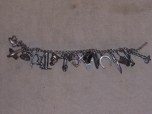Vintage-Sterling-Silver-Charm-Bracelet-Western-Horse-Theme-and-More-Charms