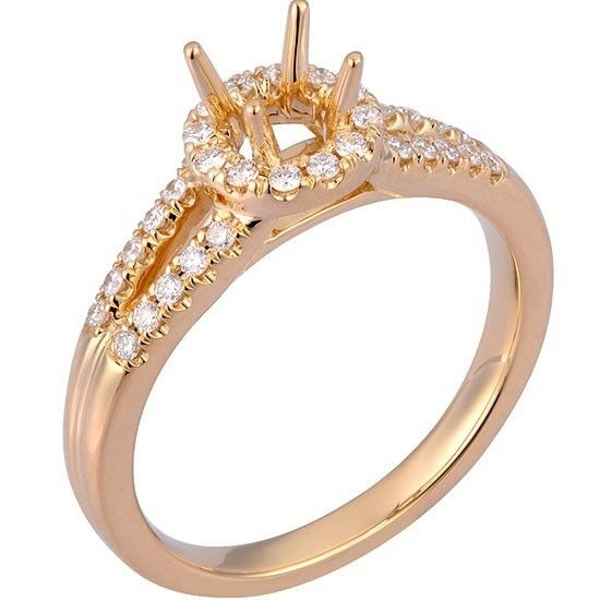 0.19 cttw Round Diamond Halo Split Shank Engagement Mounting in 18K. pink gold