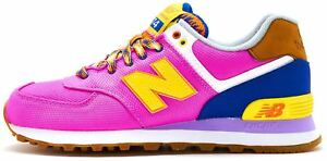 e8b12abf999b New Balance 574 Suede Retro Women Trainers in Pink   Yellow WL574 ...