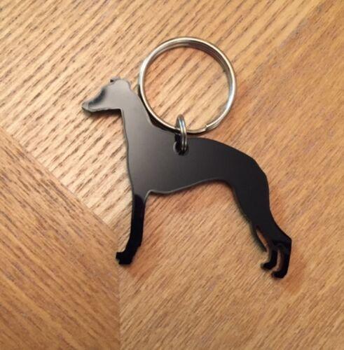 Whippet Dog Keyring Keychain Bag Charm Gift in Black