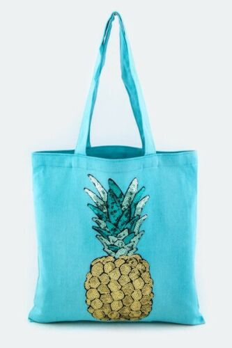 Sequin Glitter Pineapple Beach Bag Tote Vacation Wear Beach Travel Carry