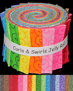 Jelly-Roll-Curls-Swirls-Color-Rainbow-Cotton-Fabric-16-Strips-2-5-034-Wide-X-44-034