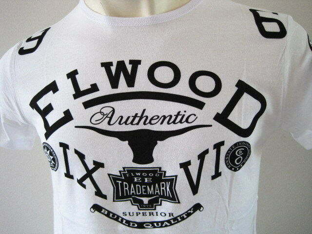 ELWOOD Mens Toros Premium Top Tee T-Shirt Size M L XL XXL white