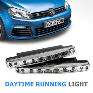 2x-LED-DRL-Feux-de-jour-Avant-Phare-Diurne-Eclairage-Voiture-8-LED-12V-DC-Blanc