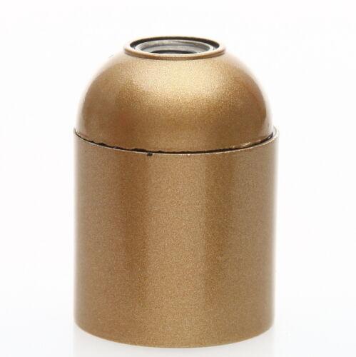 E27 Bakelit Fassung gold mit Glattmantel M10x1 IG 250V//4A
