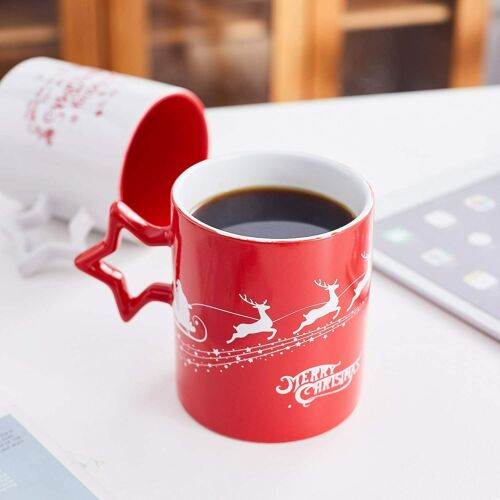 Bruntmor Ceramic Coffee Mugs Set of 6 Holiday Christmas Theme Star Handle 14 Oz