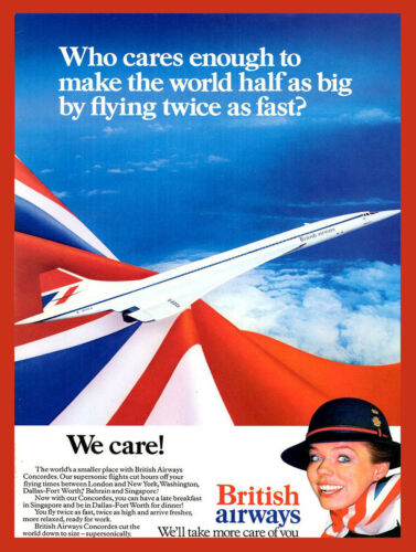 Retro metal Aluminium Sign//Plaque vintage Style Concorde British Airways Advert