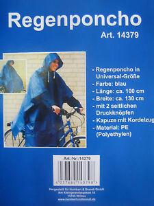 Gelernt Regenponcho Regenbekleidung In Universalgröße Blau Bekleidung Kapuze Mit Kordelzug SorgfäLtige FäRbeprozesse Sport