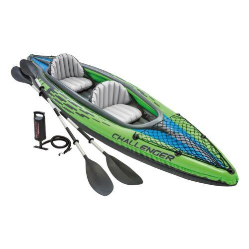 Intex K2 Challenger 2 Man Person Inflatable Kayak Canoe Oars Pump Dinghy Boat