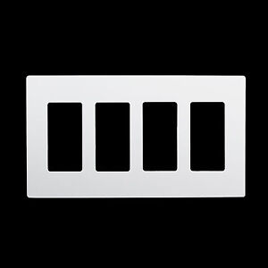 4 Gang Screwless White Wall Plate Outlet Cover Gfci Rocker