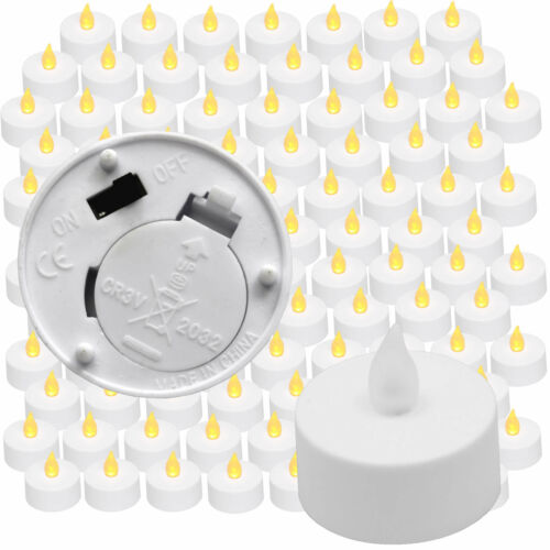 New AMBER Flickering 100 Flicker Light Flameless LED Tealight Tea Candles