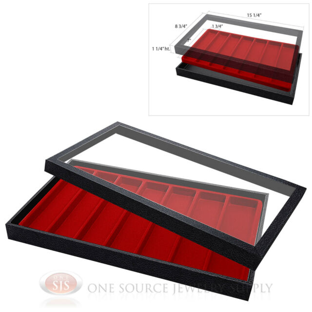 (1) Acrylic Top Display Case & (1) 7 Slot Red Compartmented Insert Organizer