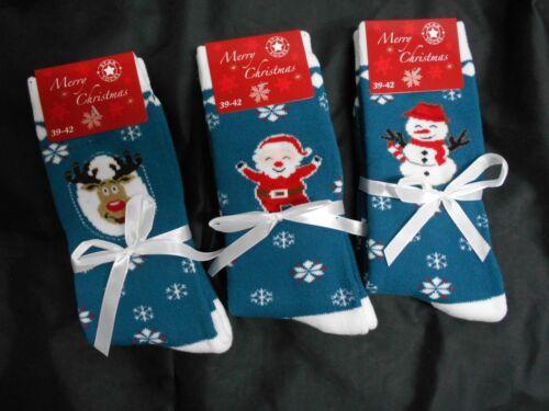 39-42 grün mit Schleifchen u 3-er Pack Weihnachts Socken Winter Gr Motiv NEU