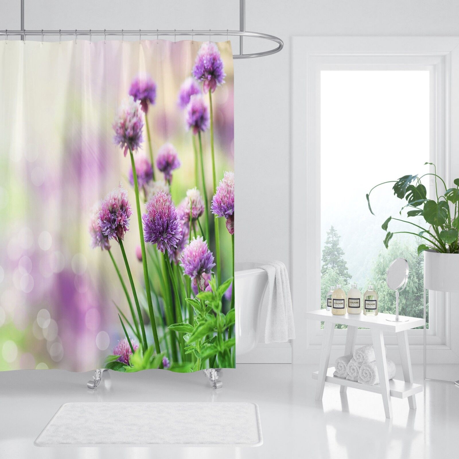 3D lila Flower 48 Shower Curtain Waterproof Fiber Bathroom Home Windows Toilet