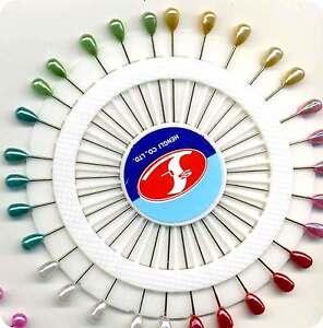 "Mixed Colour FLOWER Shape Bead Head Hat Florists Corsage Pins 2/"" long x 30"