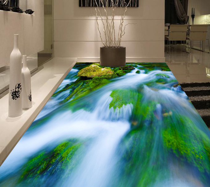 3D Grün Fluss 520 Fototapeten Wandbild Fototapete Tapete Familie DE Lemon