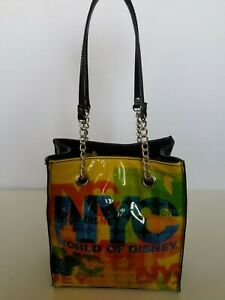 Details About Nyc World Of Disney Tote Bag Multicolor Graphic Front Black Silvertone Hardware