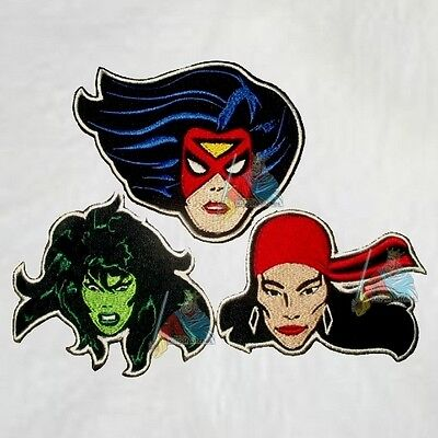 Set Marvel Heroes Women Embroidered Patches Comics She-Hulk Spider Woman Elektra