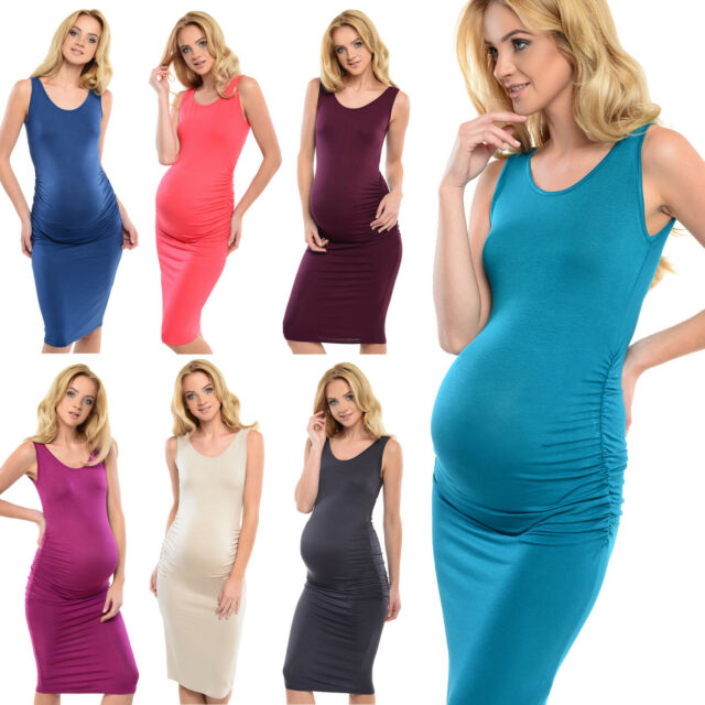 Purpless Maternity Jersey Pregnancy Ruched Sleeveless Midi Dress Dresses D8130
